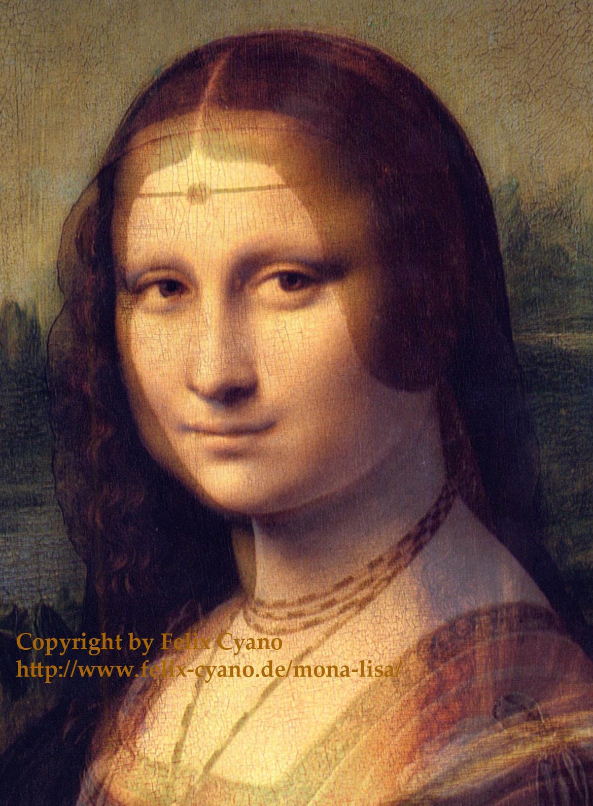 Vergleich der Augen von Leonardos La Belle und einem zweiten Gemälde, Mona Lisa. Es ist die gleiche Vorlage, nur beim zweiten Mal wurde das Porträt etwas rundlich und die Augen schwollen zu.