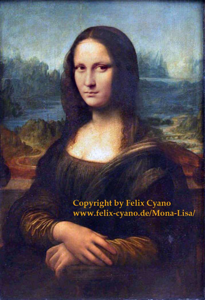 Mona Lisa korrigiert: Entfernung des Gelbstiches und Anpassung der Gesichtszüge an den ursprünglichen Cartoon.